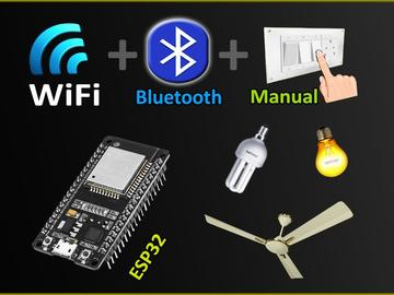 WiFi +蓝牙+手动开关控制ESP32的8个继电器