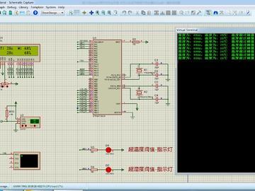 <STM32 Proteus仿真程序>DHT11温湿度+1602+串口+LED,流程图框图