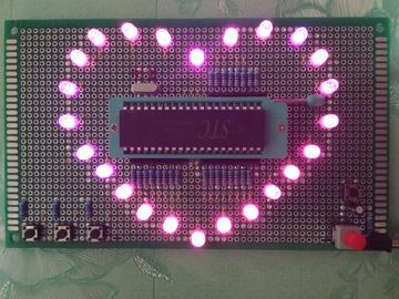 基于STC98C52单片机的心形流水灯设计(原理图+程序)