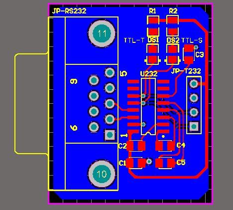 RS232轉TTL232 RS232-TTL232模塊 DB9模塊