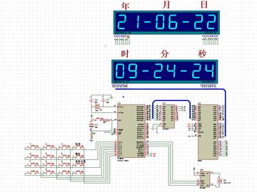 基于单片机DS1302万年历8255驱动数码管显示(proteus仿真+源程序+报告)
