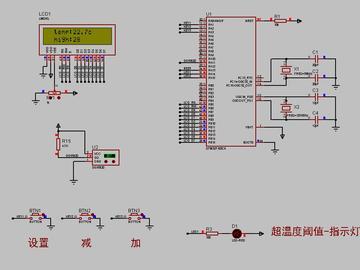 <STM32 Proteus仿真程序>DS18B20温度+1602+按键+LED,流程图框图