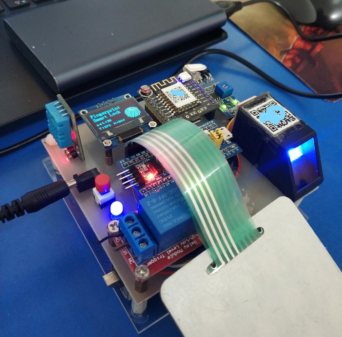 STM32智能指紋密碼鎖可密碼指紋WiFi遠程解鎖