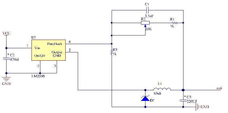 LM2596可調電源原理圖(Altium Designer)