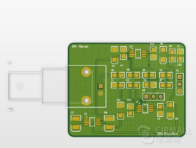 PH传感器的模拟信号处理模块酸碱度测试电子设计大赛元件