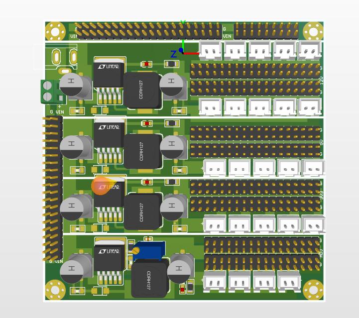 多路DC-DC電源電路板,LM2596-12V/5V/3.3V/ADJ設計方案