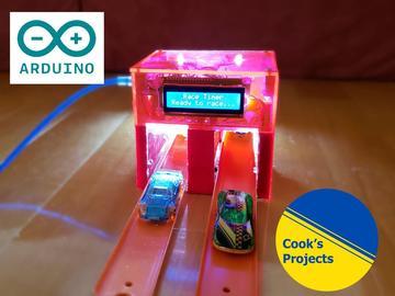 风火轮赛车模型的比赛开始计时器和速度测量