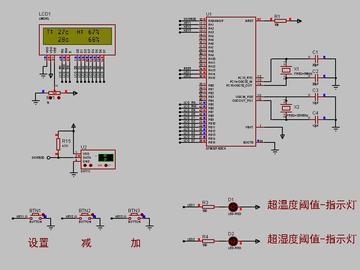 <STM32 Proteus仿真程序>DHT11温湿度+1602+按键+LED,流程图框图