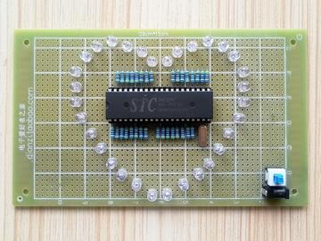 基于51单片机 的七彩炫光心形流水灯与LED爱心灯的电路方案设计(源码+pcb+电路图)