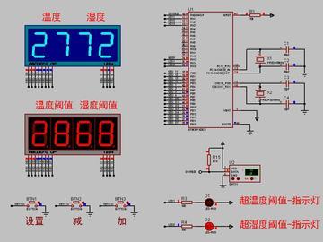 <STM32 Proteus仿真程序>DHT11温湿度+数码管+按键+LED,流程图框图