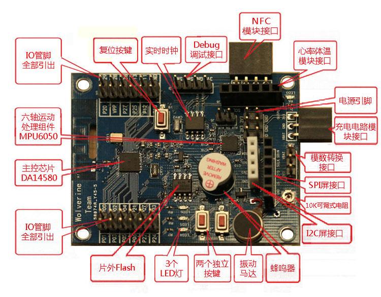 全球首款100%开源智能穿戴手表/手环--DA14580+BLE+NFC+6轴运动陀螺仪+心率+体温+计步+全彩OLED