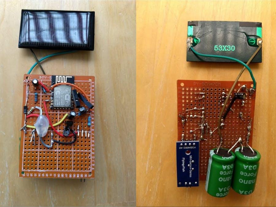 ESP8266 - 帶超級電容器的太陽能供電的濕度傳感器