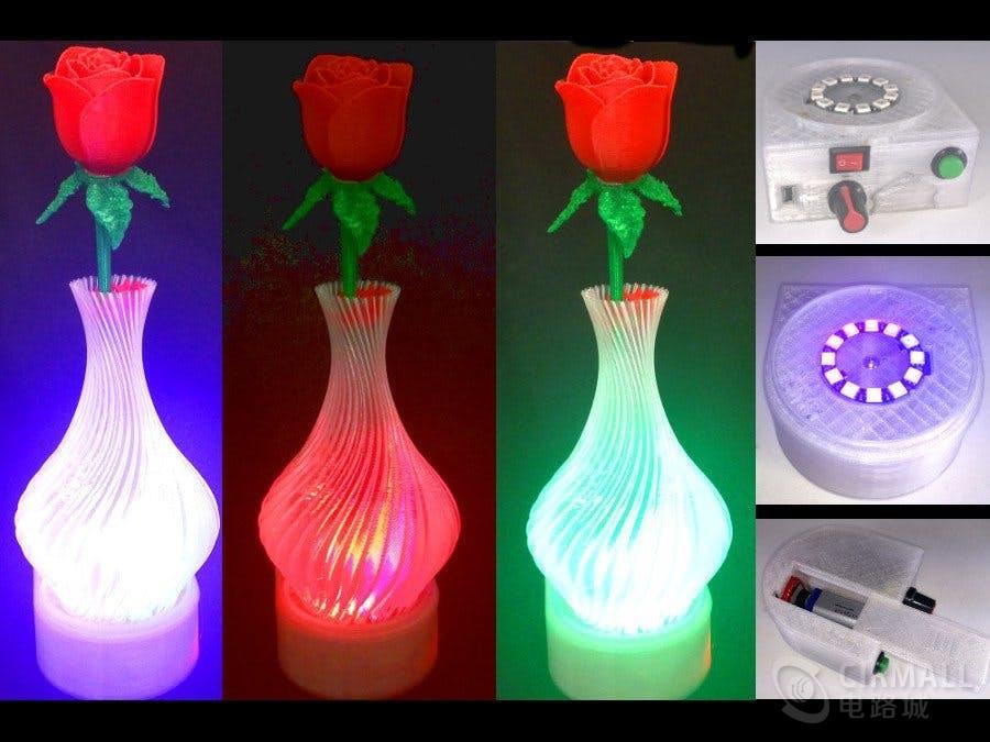 开源3D打印花瓶架,情人节佳品