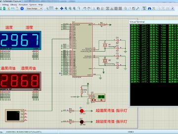 <STM32 Proteus仿真程序>DHT11温湿度+数码管+串口+LED,流程图框图