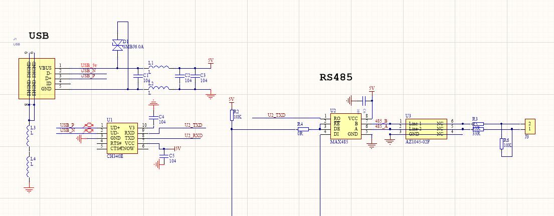 完整電路方案設計資源分享之半雙工USB轉485的模塊電路設計(源碼+原理圖+文檔)