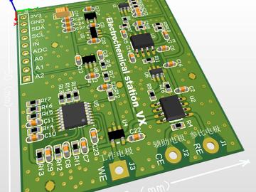 三电极体系电化学测量模组(恒电位仪、I/V转换、微弱电流)