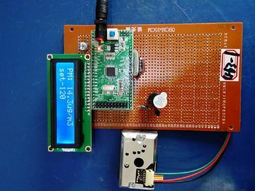 基于STM32单片机的无线粉尘传感器节点设计-LCD1602-PM2.5-(电路图+程序源码)