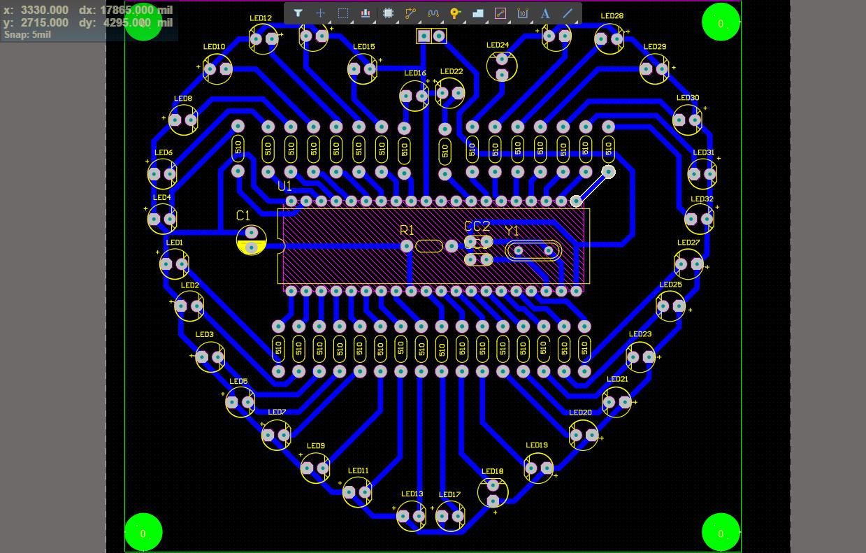 51单片机心形流水灯电路设计方案(仿真工程文件+程序)