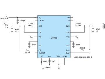 具有低EMI、高效率的双通道2A稳压器LT8653S