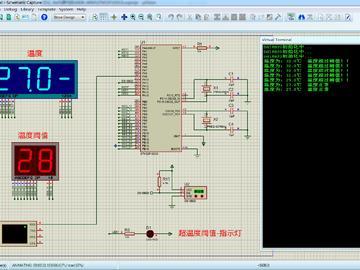 <STM32 Proteus仿真程序>DS18B20温度+数码管+UART串口+LED,流程图框图