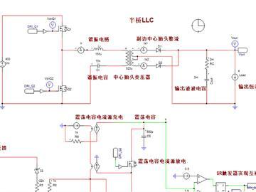 500W半桥LLC串联谐振开关电源PSIM仿真模型
