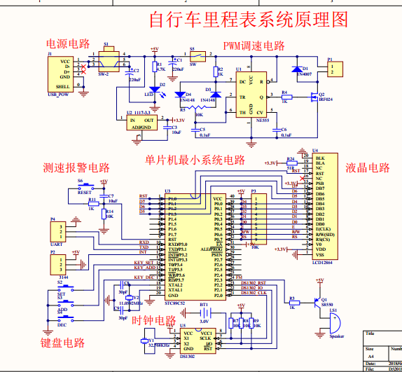 限定速度、超速报警——电动自行车里程表设计,含软硬件资料