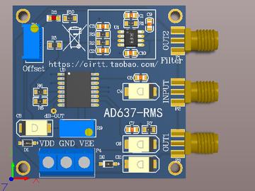 AD637模块 有效值检测模块 电路图和PCB图