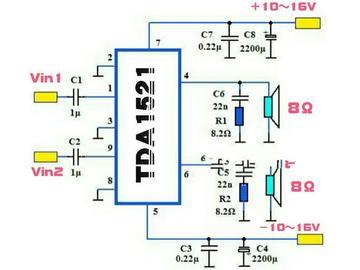 非常适合初学者自己动手制作功放的双声道高保真功放IC TDA1521
