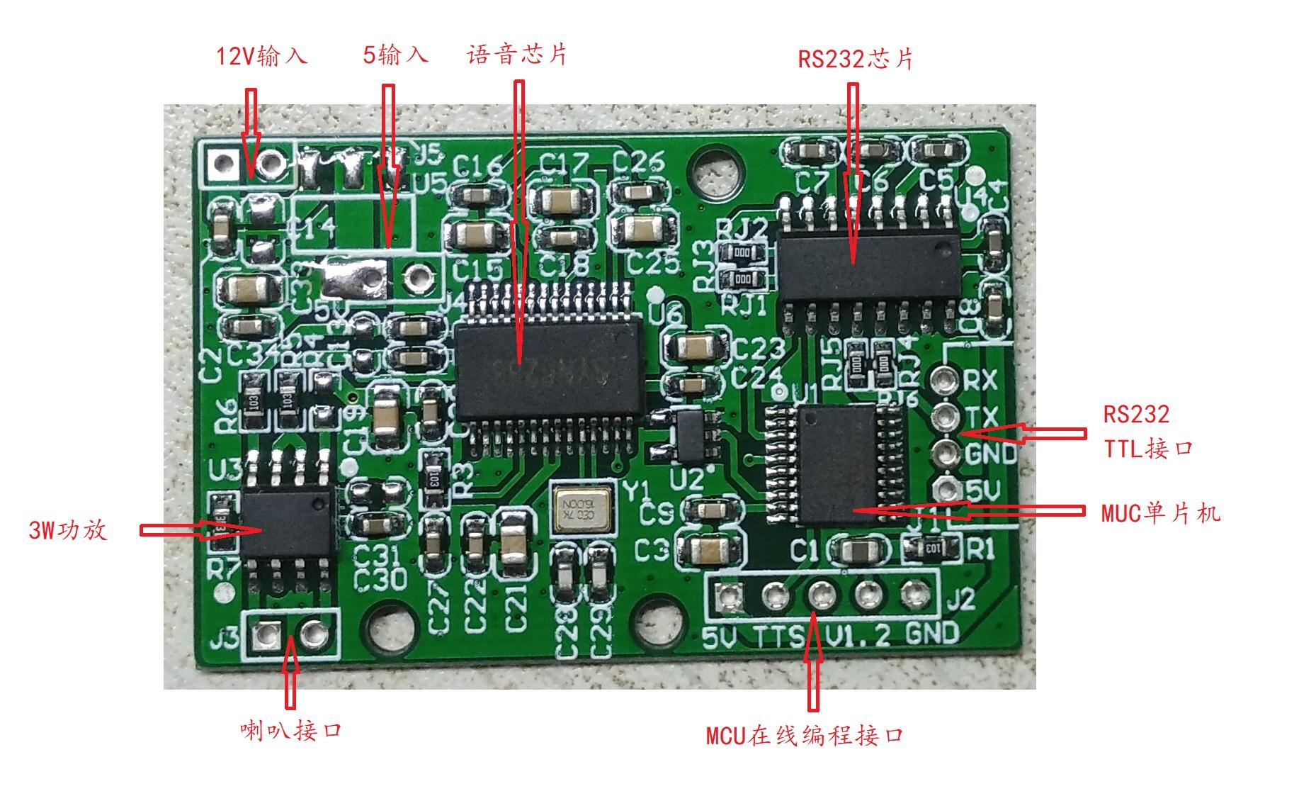 基于SYN6288芯片帶TTL/RS232接口的TTS語音開發板