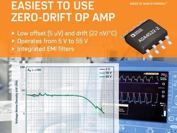 ADI推出零漂移精密运算放大器简化电路板设计