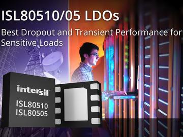 Intersil推出具有一流压差和瞬态性能的新款LDO稳压器,适用于对噪声敏感的应用