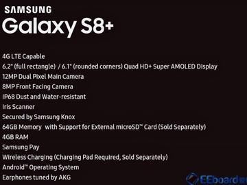 Galaxy S8+规格信息曝光:6.2吋屏幕+IP68级别防水+1200万像素