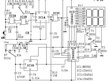 带数字显示,低成本的电容表原理图设计