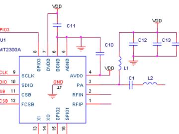 基于CMT2300A的射频匹配网络的数字信号、电源及地电路设计
