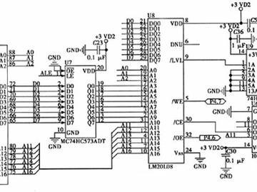 单片机C8051FC40/FM20L08扩展电路图
