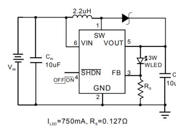 AP2803白光LED大功率3W驱动电源IC电路